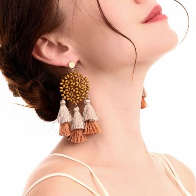 Wooden Beaded Tassel Drop Earrings Bohemia Statement Earring