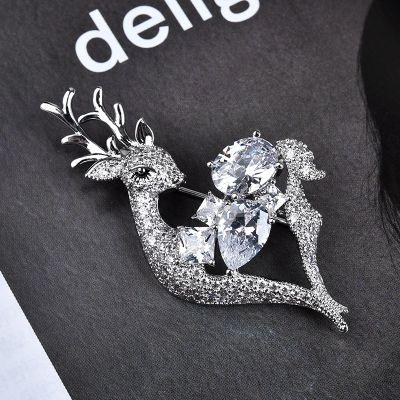 Zircon Crystal Deer Brooch Pins for Work