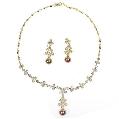 Zircon Flowers Pear Pendants Necklace and Earrings Set