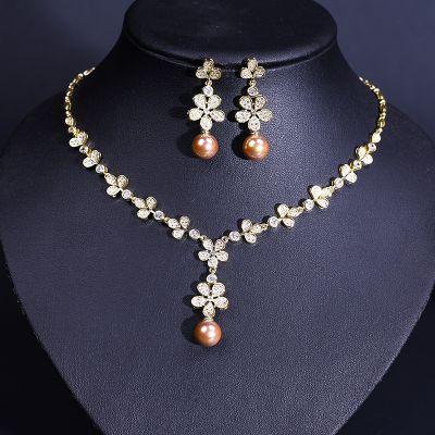 Zircon Flowers Pear Pendants Necklace and Earrings Set